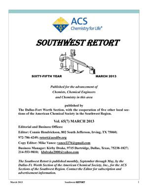 Primary view of object titled 'Southwest Retort, Volume 65, Number 7, March 2013'.
