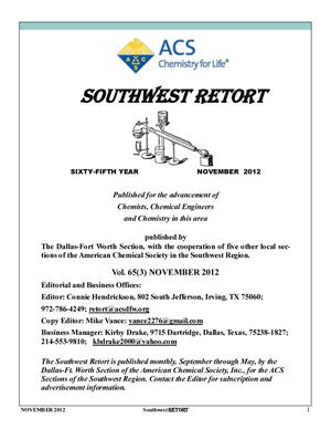 Primary view of object titled 'Southwest Retort, Volume 65, Number 3, November 2012'.