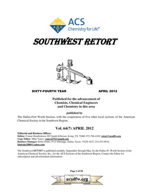 Primary view of object titled 'Southwest Retort, Volume 64, Number 7, April 2012'.