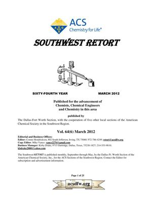 Primary view of object titled 'Southwest Retort, Volume 64, Number 6, March 2012'.
