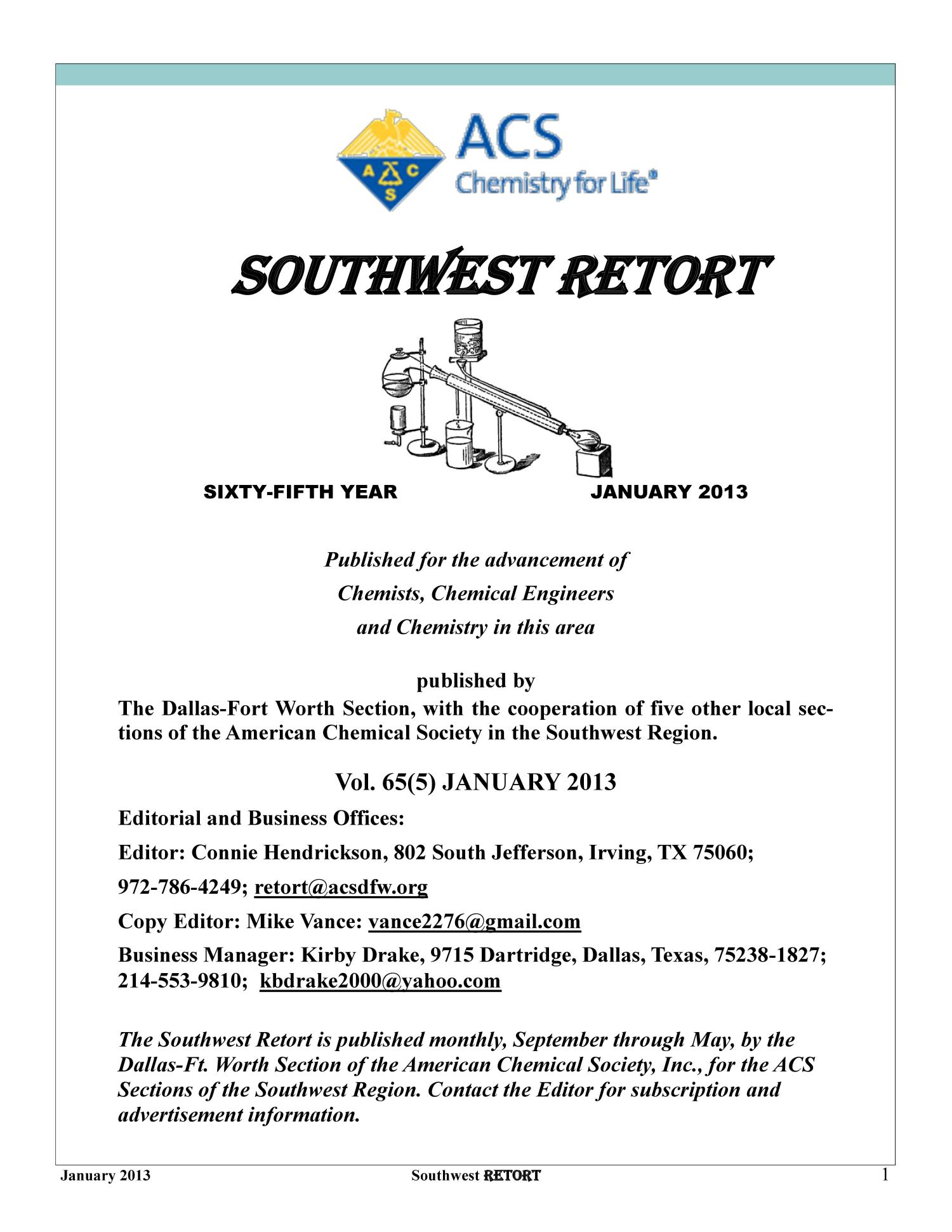 Southwest Retort, Volume 65, Number 5, January 2013                                                                                                      1
