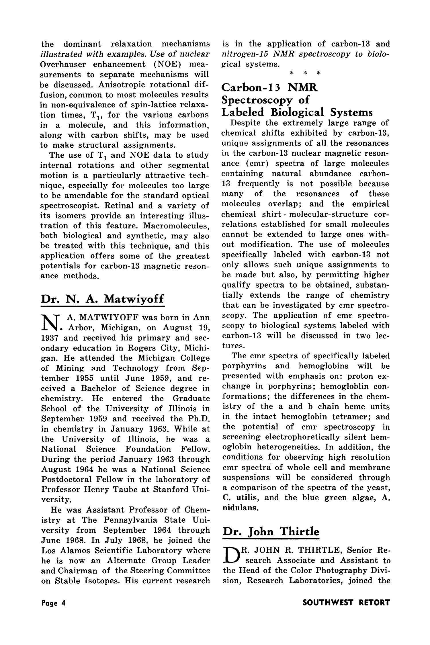 Southwest Retort, Volume 27, Number 5, January 1975                                                                                                      4