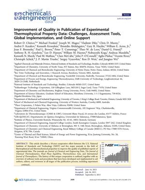 Primary view of object titled 'Improvement of Quality in Publication of Experimental Thermophysical Property Data: Challenges, Assessment Tools, Global Implementation, and Online Support'.