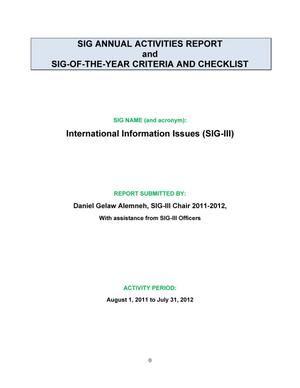 Primary view of object titled 'SIG Annual Activities Report and SIG-Of-The-Year Criteria and Checklist: International Information Issues (SIG-III)'.