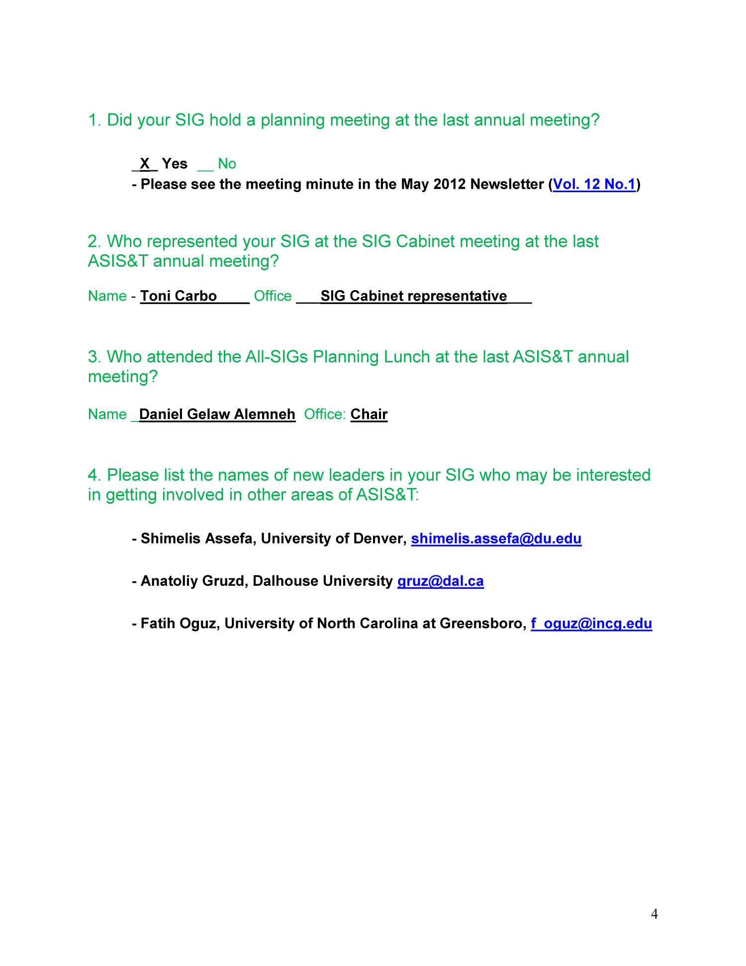 SIG Annual Activities Report and SIG-Of-The-Year Criteria and Checklist: International Information Issues (SIG-III)                                                                                                      4