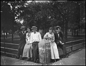 Primary view of object titled '[Students on North Corner of Campus, 1914]'.