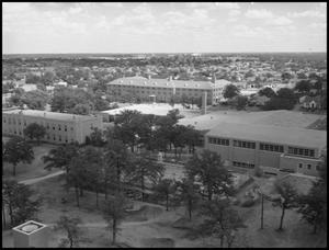 Primary view of object titled '[Aerial Photograph of Multiple Buildings for the North Texas State College, June 6, 1956 #1]'.