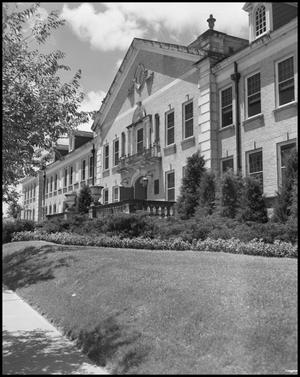 Primary view of object titled '[Close Up of Chilton Hall - Exterior -1954]'.
