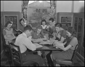 Primary view of object titled '[Students Reading Books, 1942]'.