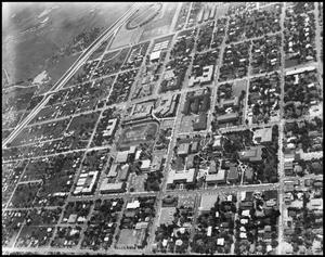 Primary view of object titled '[Campus - Aerial - Interstate 35 - 1962]'.