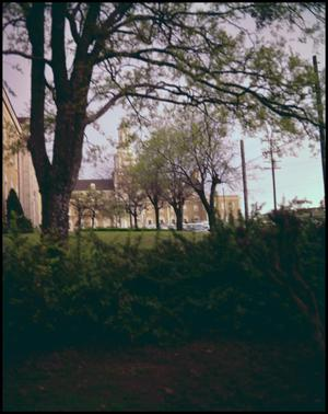 Primary view of object titled '[Administration Building from Campus Grounds, 1963/64]'.