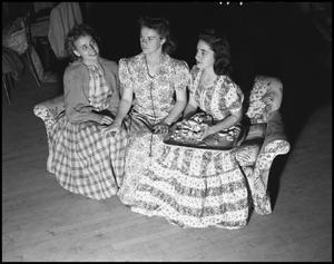 Primary view of object titled '[Campus - Scene - Three Women - Activities - 1942]'.