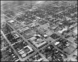 Primary view of object titled '[Campus - Aerial - Main Buildings - 1962]'.