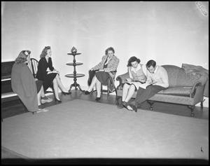 Primary view of object titled '[Campus - Scene - Living Room - Activities - 1942]'.