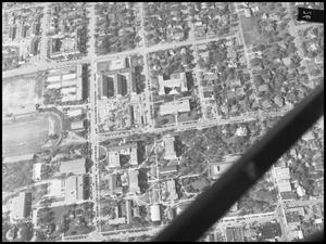 Primary view of object titled '[Campus - Aerial - Ave. B in Center - 1948]'.