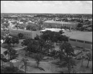 Primary view of object titled '[Aerial Photograph of Multiple Buildings for the North Texas State College, June 6, 1956 #2]'.