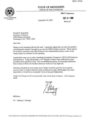 Primary view of object titled 'Executive Correspondence - Letter from Mississippi Governor Haley Barbour to Secretary Rumsfield dtd 30 Sep 2005'.