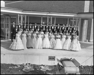Primary view of object titled '[A Capella Choir Posing for a Photograph on an Outside Stage, November 1960 #2]'.