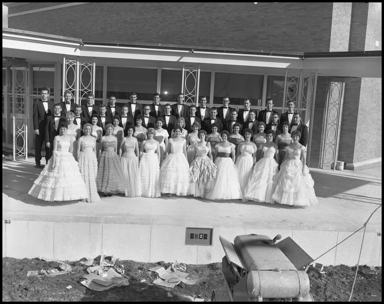[A Capella Choir Posing for a Photograph on an Outside Stage, November 1960 #3]                                                                                                      [Sequence #]: 1 of 1