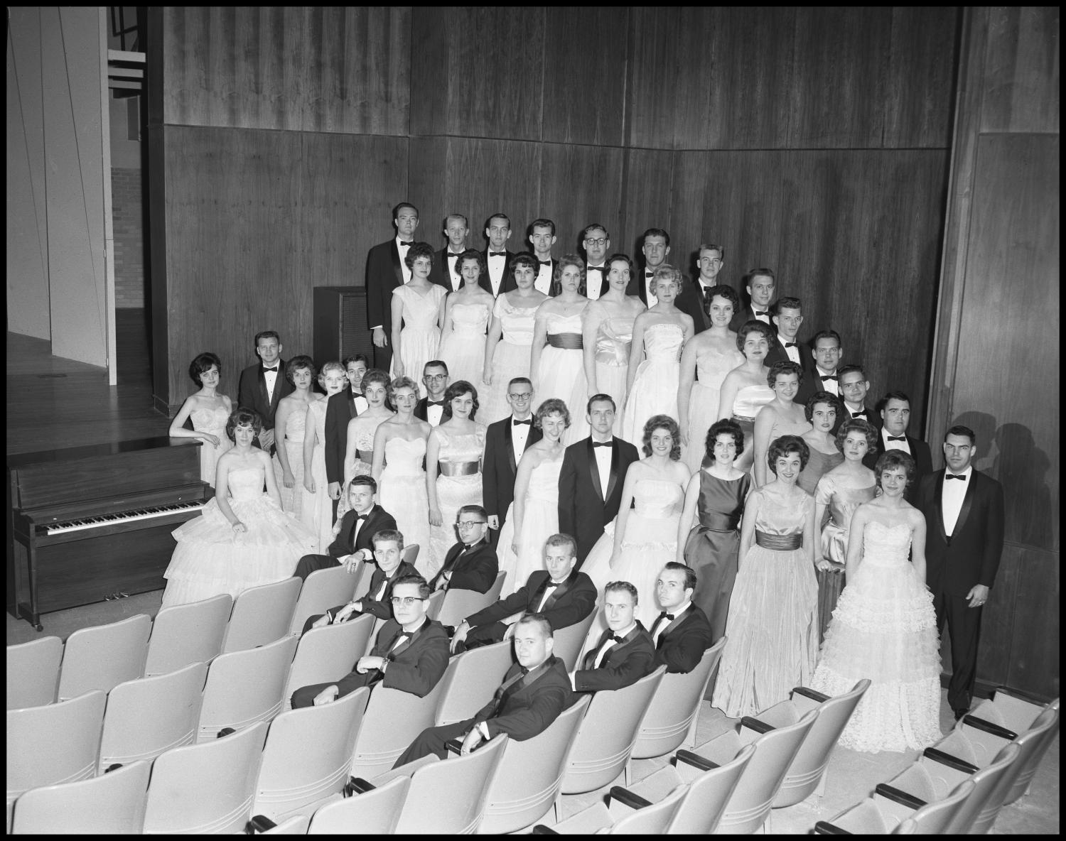 [A Capella Choir Posing for a Photograph in the Corner of the Auditorium, December 4, 1961 #1]                                                                                                      [Sequence #]: 1 of 1