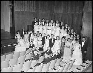 [A Capella Choir Posing for a Photograph in the Corner of the Auditorium, December 4, 1961 #1]