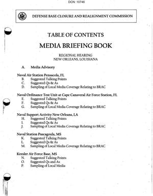 Primary view of object titled 'Regional Hearing Book, New Orleans, LA dtd 12 Jul 2005'.