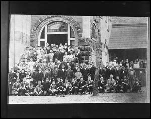 Primary view of object titled '[Class Posing Outside on Campus Grounds #1]'.