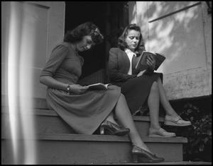 Primary view of object titled '[College Life - Female Students Reading - 1942]'.