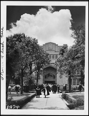 Primary view of object titled '[Commencement - in Auditorium - 1950 - Administration Building]'.
