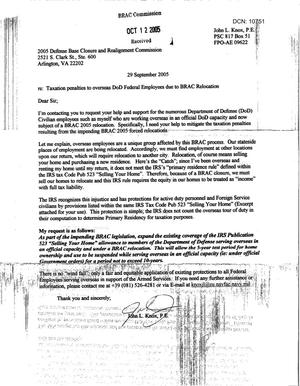 Primary view of object titled 'Letter from John L. Knox to BRAC Commission dtd 29 Sep 2005'.
