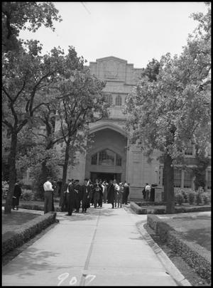Primary view of object titled '[Commencement - Administration Building #3 - 1950]'.