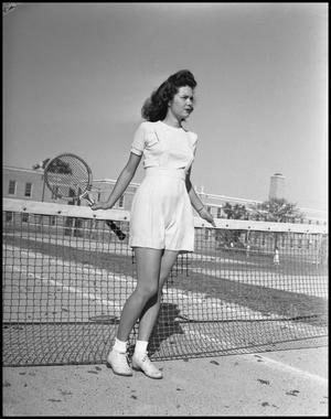 Primary view of object titled '[Bessie G. Cooper on the Tennis Court]'.