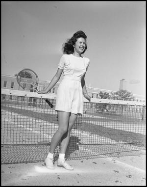 Primary view of object titled '[Cookie Cooper at a Tennis Court]'.