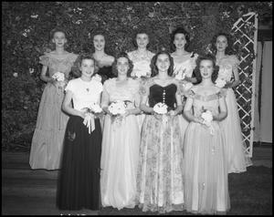 Primary view of object titled '[Nine women in formal wear]'.