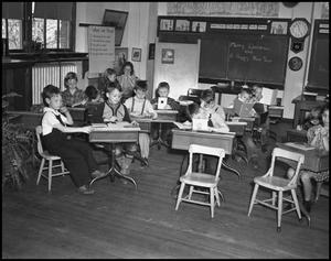 Primary view of object titled '[Children in a classroom]'.
