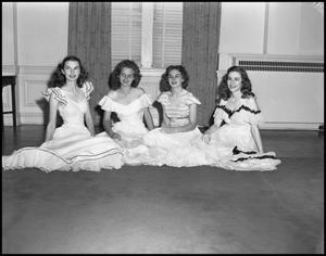 Primary view of object titled '[Four Students Posing for the Duchess of May Fete Informal Dance, 1942]'.