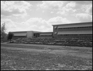 Primary view of object titled '[Facade of the music complex at UNT]'.