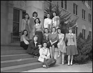 Primary view of object titled '[Female Students on Campus]'.