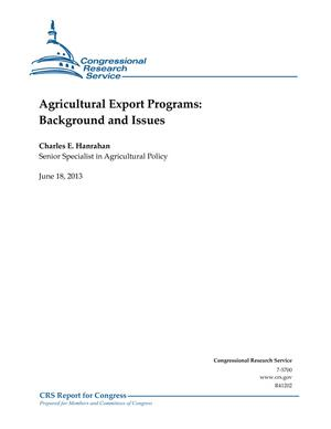 Agricultural Export Programs: Background and Issues