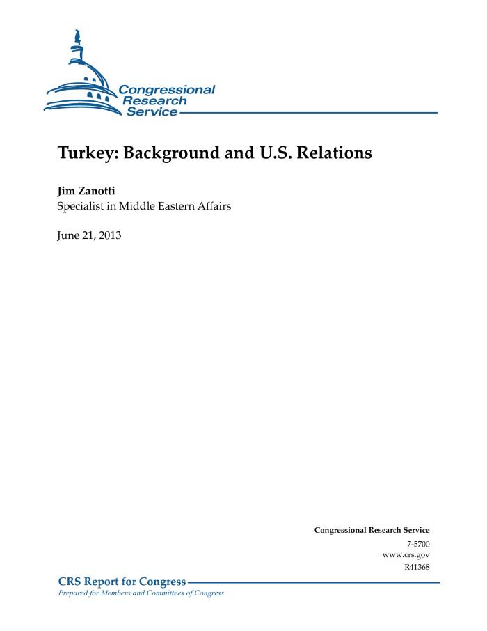 Turkey: Background and U.S. Relations