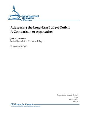 Addressing the Long-Run Budget Deficit: A Comparison of Approaches