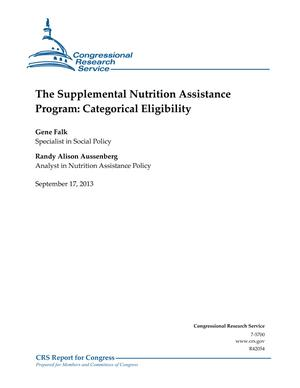 The Supplemental Nutrition Assistance Program: Categorical Eligibility
