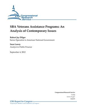 SBA Veterans Assistance Programs: An Analysis of Contemporary Issues