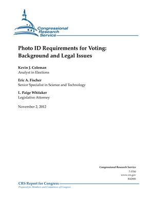 Photo ID Requirements for Voting: Background and Legal Issues