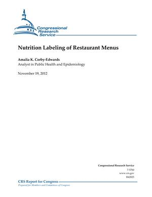 Nutrition Labeling of Restaurant Menus