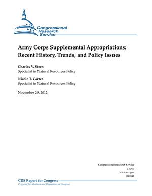 Army Corps Supplemental Appropriations: Recent History, Trends, and Policy Issues