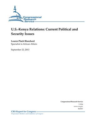 U.S.-Kenya Relations: Current Political and Security Issues
