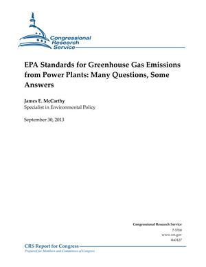 EPA Standards for Greenhouse Gas Emissions from Power Plants: Many Questions, Some Answers