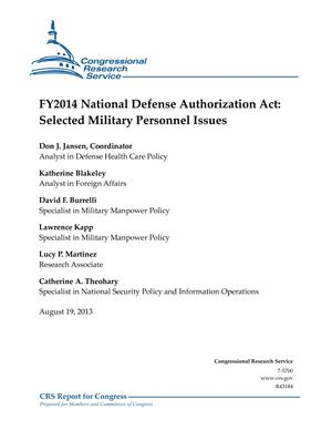 FY2014 National Defense Authorization Act: Selected Military Personnel Issues