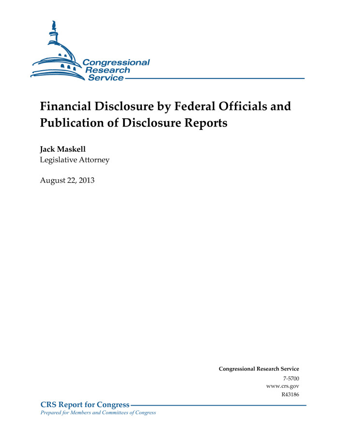 Financial Disclosure by Federal Officials and Publication of Disclosure Reports